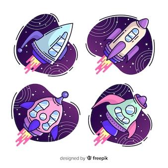 Colección colorida de naves espaciales dibujadas a mano