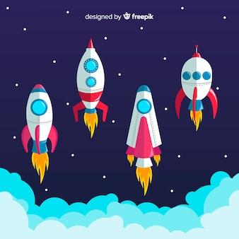 Colección colorida de naves espaciales con diseño plano