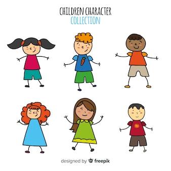 Colección colorida de niños dibujados a mano