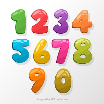 Colección colorida de números