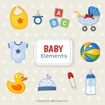Colección colorida de objetos para bebés