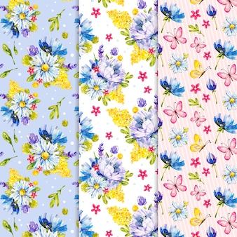 Colección colorida del patrón de la primavera de la acuarela