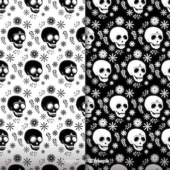 Colección colorida de patrones del día de muertos dibujados a mano