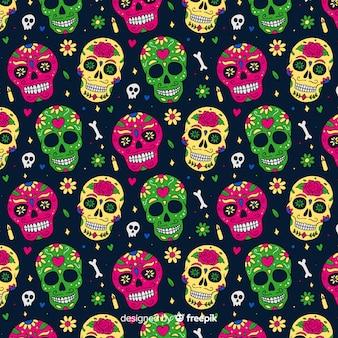 Colección colorida de patrones del día de muertos con diseño plano