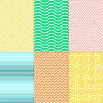 Colección colorida de patrones geométricos mínimos