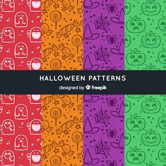 Colección colorida de patrones de halloween dibujados a mano