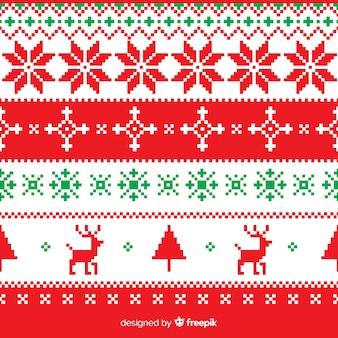 Colección colorida de patrones de navidad con estilo de punto