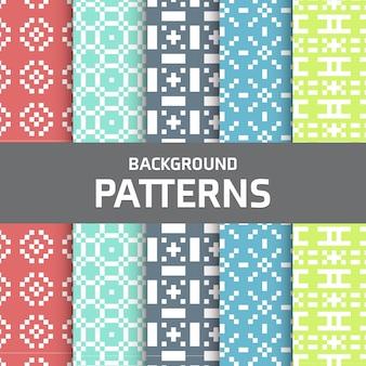 Colección colorida de patrones pixelados