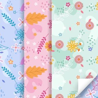 Colección colorida de patrones de primavera plana