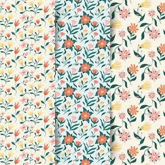 Colección colorida de patrones de primavera