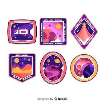 Colección colorida de pegatinas astronómicas femeninas