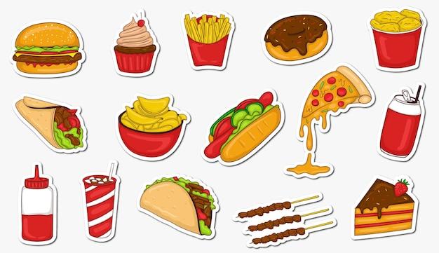 Colección colorida de pegatinas de comida chatarra dibujadas a mano