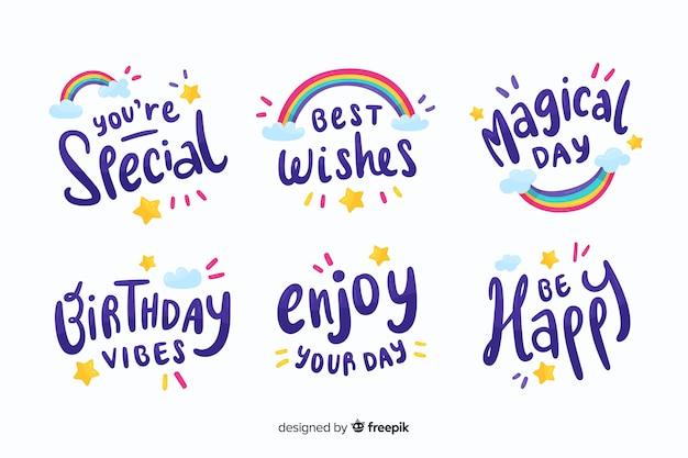 Colección colorida de pegatinas de cumpleaños