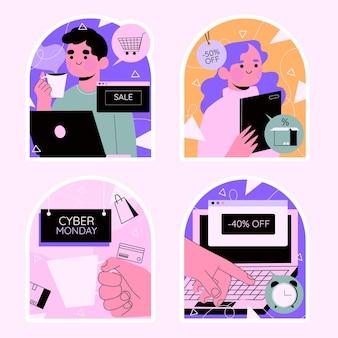 Colección colorida de pegatinas de cyber monday