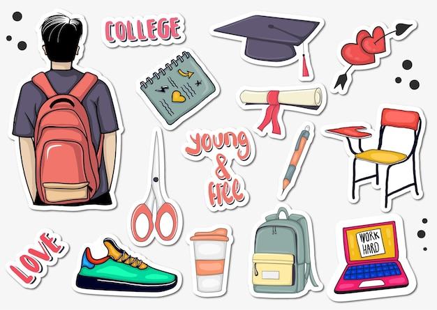 Colección colorida de pegatinas de elementos universitarios dibujados a mano