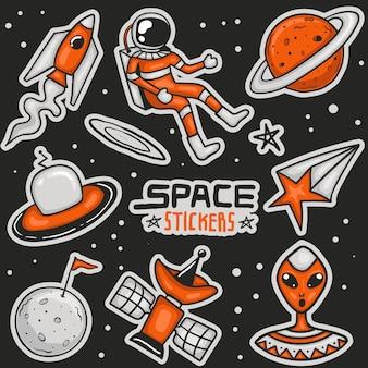 Colección colorida de pegatinas espaciales dibujadas a mano