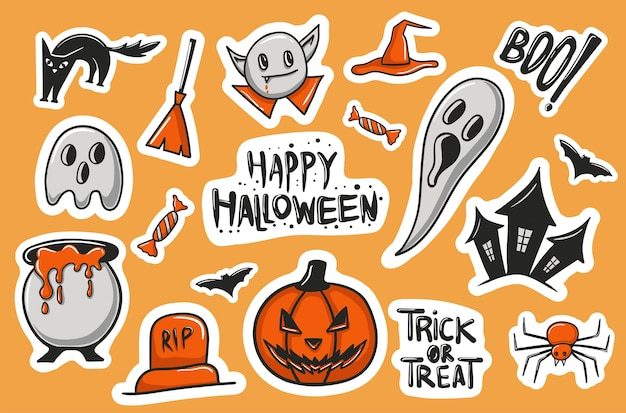 Colección colorida de pegatinas de halloween dibujadas a mano