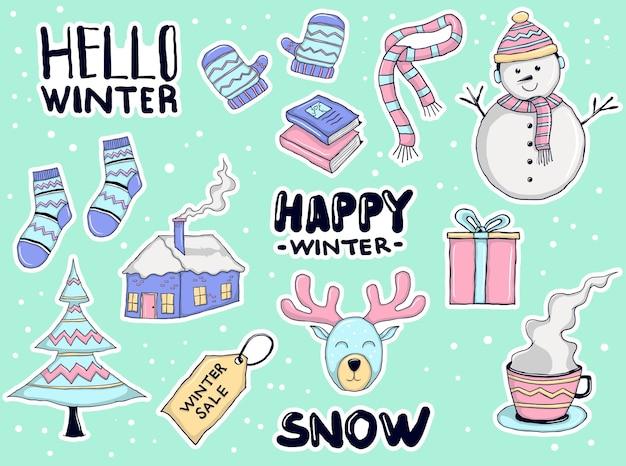 Colección colorida de pegatinas de invierno dibujadas a mano