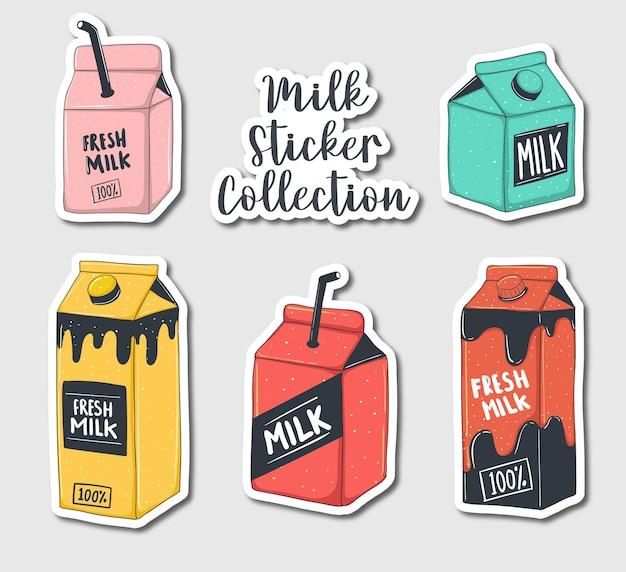 Colección colorida de pegatinas de leche dibujadas a mano
