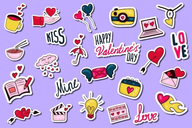 Colección colorida de pegatinas de san valentín dibujadas a mano