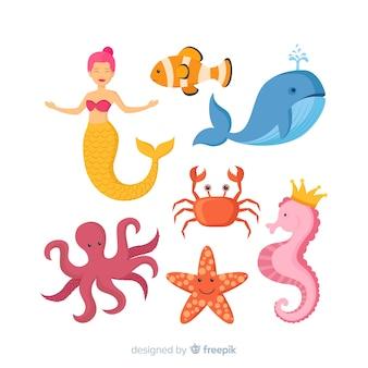Colección colorida de personajes de la vida marina