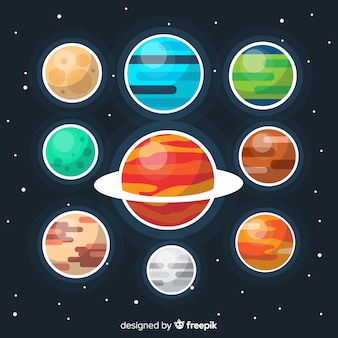 Colección colorida del planeta plano