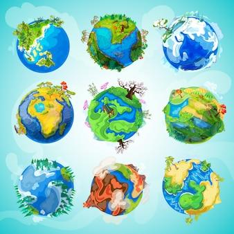 Colección colorida del planeta tierra