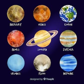 Colección colorida de planetas acuarelas
