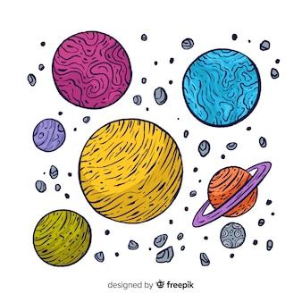 Colección colorida de planetas de la vía láctea