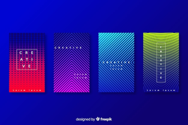 Colección colorida de portadas abstractas