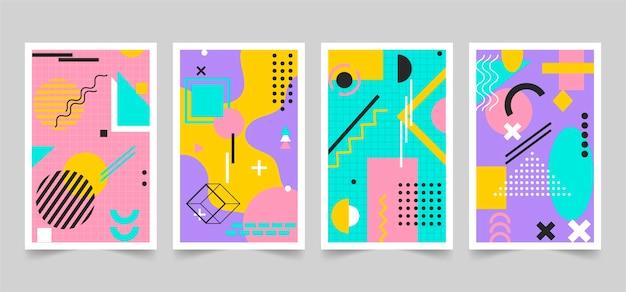 Colección colorida de portadas de diseño de memphis
