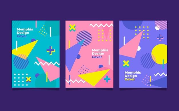 Colección colorida de portadas de memphis