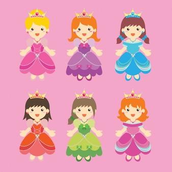 Colección colorida de princesas