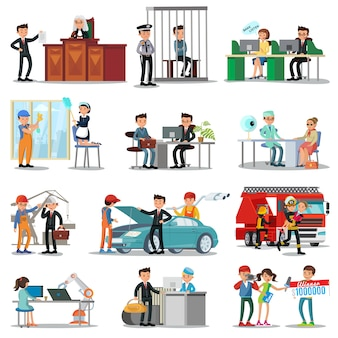 Colección colorida de profesiones y ocupaciones