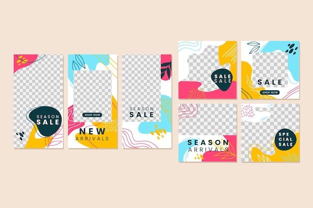 Colección colorida de publicaciones de instagram