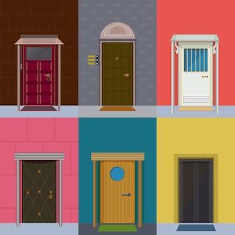 Colección colorida de puertas de entrada