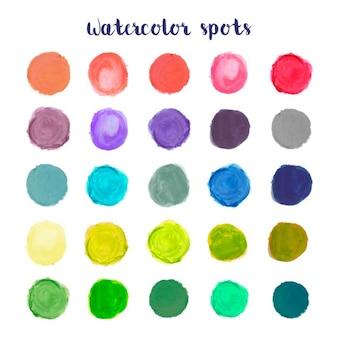 Colección colorida de puntos en acuarela
