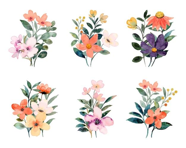 Colección colorida de ramos de flores silvestres con acuarela