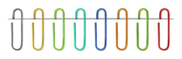 Colección colorida realista de clips con hoja de papel