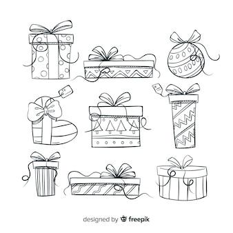 Colección colorida de regalos de navidad dibujados a mano