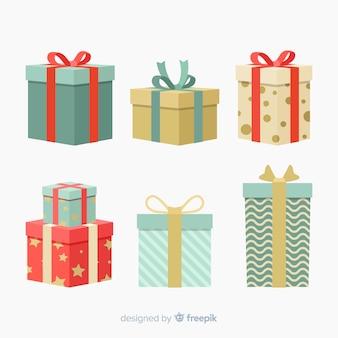 Colección colorida de regalos de navidad con diseño plano