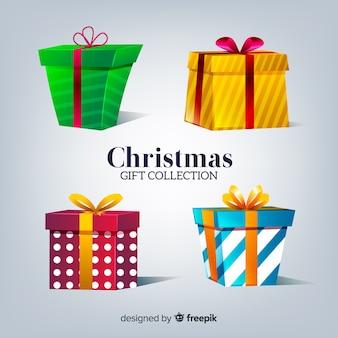 Colección colorida de regalos de navidad con diseño realista