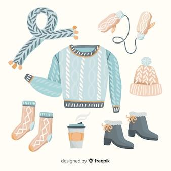 Colección colorida de ropa de invierno dibujada a mano