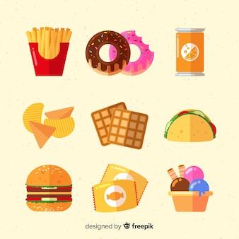 Colección colorida de snacks con diseño plano