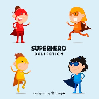 Colección colorida de superheroínas con diseño plano