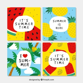 Colección colorida de tarjetas de verano