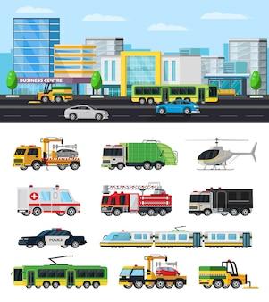 Colección colorida de transporte de la ciudad
