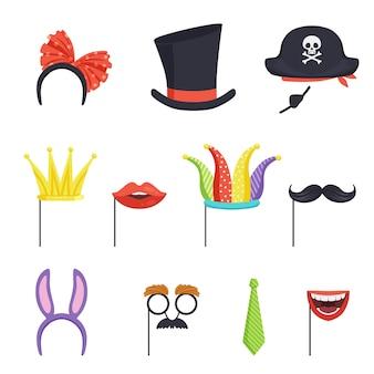 Colección colorida con varios accesorios de carnaval.