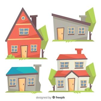 Colección colorida de viviendas con estilo de dibujo animado