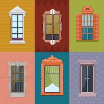 Colección colorida de windows flat